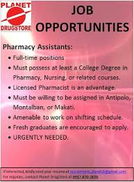 Jobs Hiring No Resume Needed by Job Opportunities The Philippine Pharmacists Association Inc