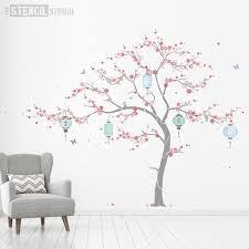 stencil cherry blossom tree mural stencil pack with lanterns
