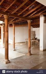 open air dining room of goan beach house retreat india stock