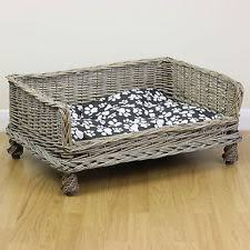 Shabby Chic Dog Beds by Medium Raised Woven Wicker Pet Bed Basket Dog Cat Kittens Puppies