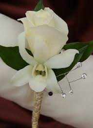 Gold Boutonniere White Sweetheart Rose And White Orchid Boutonniere Gold