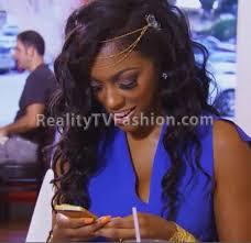 porsha on atlanta atlanta house wife hairstyle porsha williams gold headband in blue jumpsuit bijoux