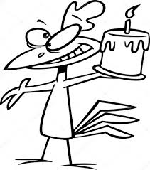 vector of a cartoon happy chicken holding a birthday cake