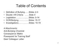 what does table of contents mean 1 anti bullying iss and legal requirements 2 table of contents