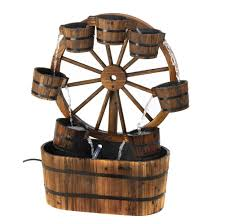 decorative water fountains for home country old fashioned wagon wheel garden water fountain