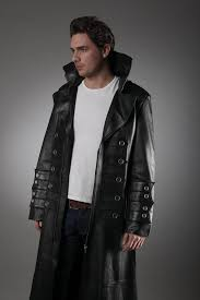 men s military leather trench coat in black leather coats