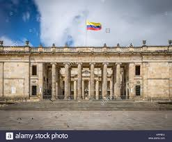 Bogota Flag Colombian National Congress And Capitol Bogota Colombia Stock