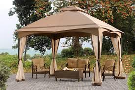 amazon com sunjoy 12 u0027 x 10 u0027 cabin style soft top gazebo with