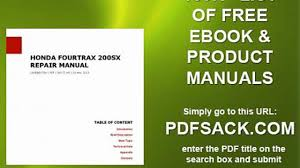 honda fourtrax 200sx repair manual video dailymotion