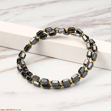 black necklace stone images Men 39 s black magnet stone with gold color beads necklace healthy jpeg