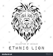 lion print ethnic black head lion totem tattoo stock vector 308852606