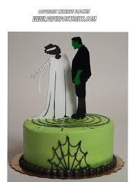 frankenstein and bride of frankenstein halloween or wedding cake
