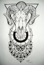 tattoo geometric outline black outline geometric goat skull tattoo design