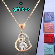 necklace with crystal pendant images Fashion love heart chain pendant 18k rose gold plated swarovski jpg