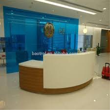 Reception Desk White by Shopping Mall Project Artificial Stone Reception Desk White