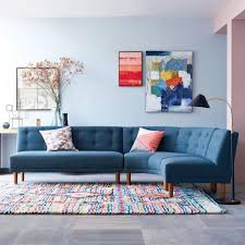 colourful living room with curved sofa dream spaces