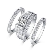 wedding rings set tinnivi sterling silver princess cut created white sapphire