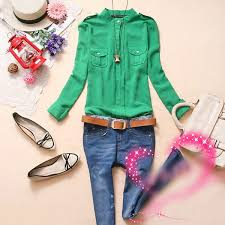 green womens blouse style womens sleeves stand collar chiffon blouse top