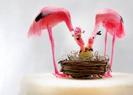 pink flamingo baby shower cake topper tropical mom dad and baby