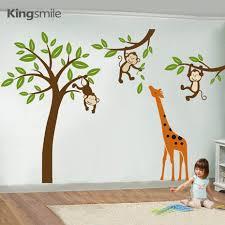 aliexpress com buy modern giraffe monkeys hanging on tree wall aliexpress com buy modern giraffe monkeys hanging on tree wall stickers nursery decals tree wall art sticker kids baby room sticker home decor from