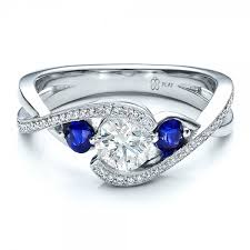 Birthstone Wedding Rings by Custom Blue Sapphire And Diamond Engagement Ring Engagement