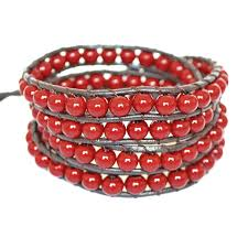 red wrap bracelet images Leather bead wrap bracelet by shamelessly sparkly jpg