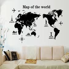 stickers deco chambre bricolage miroir grande carte du monde stickers muraux décoration