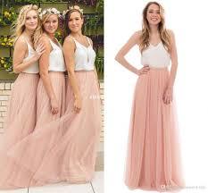 Cheap Boho Clothes Online Two Tone Country Wedding Boho Bridesmaid Dresses Blush Tulle V
