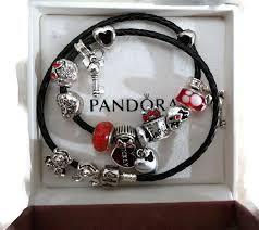 bracelet leather pandora images Leather pandora bracelet with 14 disney cartoon 39 mickey minnie jpg