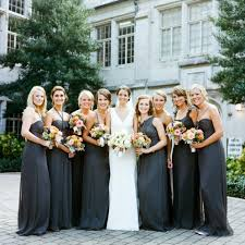 grey bridesmaid dresses the same color and material but different dresses britts