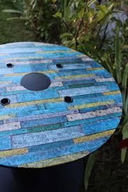 table basse touret bois table basse ronde bobine style vintage bois vieilli à partir