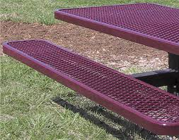 Expanded Metal Patio Furniture - 6 u0027 pedestal expanded metal picnic table