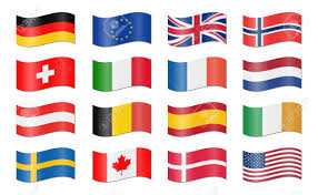 Conutry Flags Collection Of Different Eu And Us Swung Country Flags Royalty Free