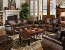 Leather Sofa Furniture Sagle Classic Saddle Traditional Leather Sofa With Nail Head Trim