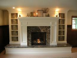 using granite frame and simple decoration stone fireplace design