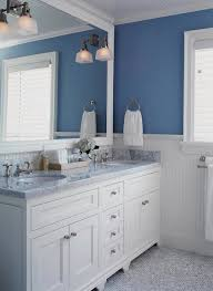 White Beadboard Ceiling by Beadboard Ceiling In Blue And White Bathroom Transitional Bathroom