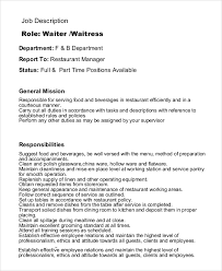 Cna Job Description Resume by Resume For Wait Staff Job