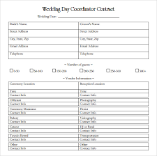 day of wedding coordinator wedding contract template 18 free documents in pdf