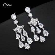 Cubic Zirconia Chandelier Earrings Dokol Luxury Cubic Zirconia Chandelier Earrings Halo Style Silver
