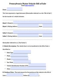 Bill Of Sale Of Vehicle free pennsylvania motor vehicle bill of sale form pdf word doc