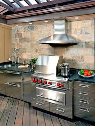 aluminum outdoor kitchen cabinets wooden deck with elegant stone textured wall tiles with superb and