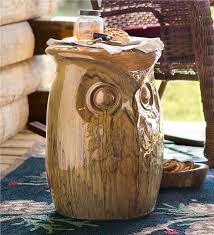 Ceramic Accent Table Ceramic Owl Side Table And Garden Stool Outdoor Side Tables