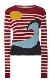 striped wave sweater by red valentino moda operandi