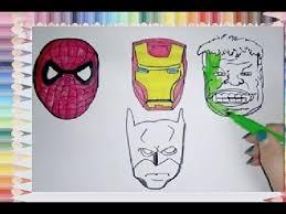 draw color spiderman batman iron man hulk masks coloring