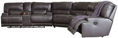 mccaskill gray power reclining sectional the furniture mart