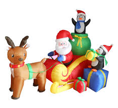 Lighted Santa And Reindeer Outdoor by Christmas Inflatable Santa With Reindeer Christmas Air Blown
