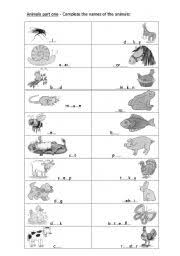 animals fill in the gaps worksheet