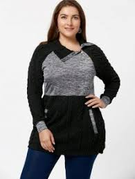 plus size cable knit sweater with pockets black plus size