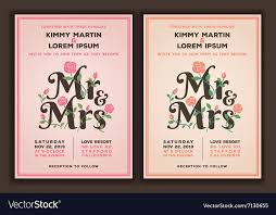 wedding invitations vector mr and mrs title with flower wedding invitations vector image
