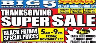 Is Sporting Goods Open On Thanksgiving Big 5 Sporting Goods Black Friday Deals Ad Scan Gazette Review